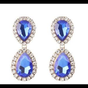 Cobalt Blue Dangling Jewel Rhinestone Earrings